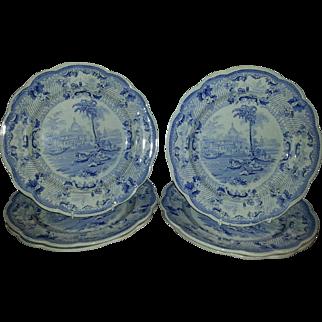 Set of Six 10 inch Blue Transfer Printed Plates by T& B Godwin in  the Surseya Ghaut Khanpore Pattern