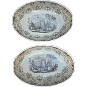 Pair of Brown Transfer Printed Deep Oval Bowls Park Scenery Pattern