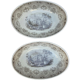 Pair of Brown Transfer Printed Deep Oval Bowls Park Scenery Pattern