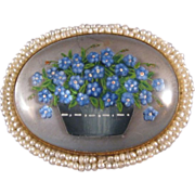 Essex Crystal Brooch, Forget-me-not Flowers, 14K, Seed Pearls, C.1890.