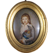 Portrait Miniature Dauphin Louis-Charles XVII, Hand Painted C.1880-1910.