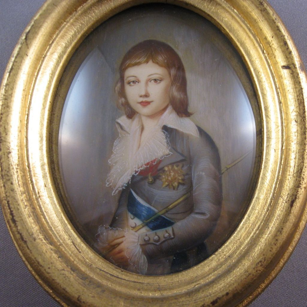 Portrait miniature dauphin louis charles xvii hand painted from