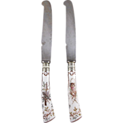 Pair Meissen Porcelain Hunt Service Dinner Knives, Hand Painted, C.1890.