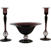 Pairpoint Glass Console Set, Amethyst with Bubble Ball Connector, C.1920s.
