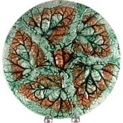 American Majolica, Begonia Leaves Plate, Marked Etruscan, C.1880.
