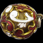 Enameled Perfume Ball, Filigree Locket Vinaigrette, 19th Century.
