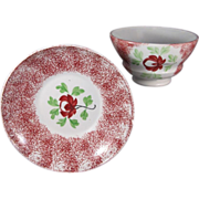 Spatterware, English Pottery, Adams Rose Teabowl and Saucer, C.1830.