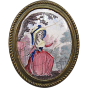 18th Century English Enamel Curtain Tieback, Birmingham.