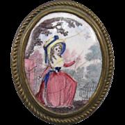 18th Century English Enamel Curtain Tieback, Birmingham.