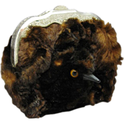 Victorian Faux-Bird Miniature Fur Covered Purse, C.1880.