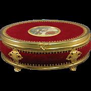 Jewelry Dresser Box, Velvet with Brass, Hand Painted Scene, C.1900-1915.