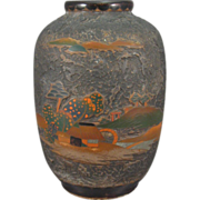 Japanese Tree-Bark Cloisonné on Porcelain Vase, Totai Shippo, Signed.