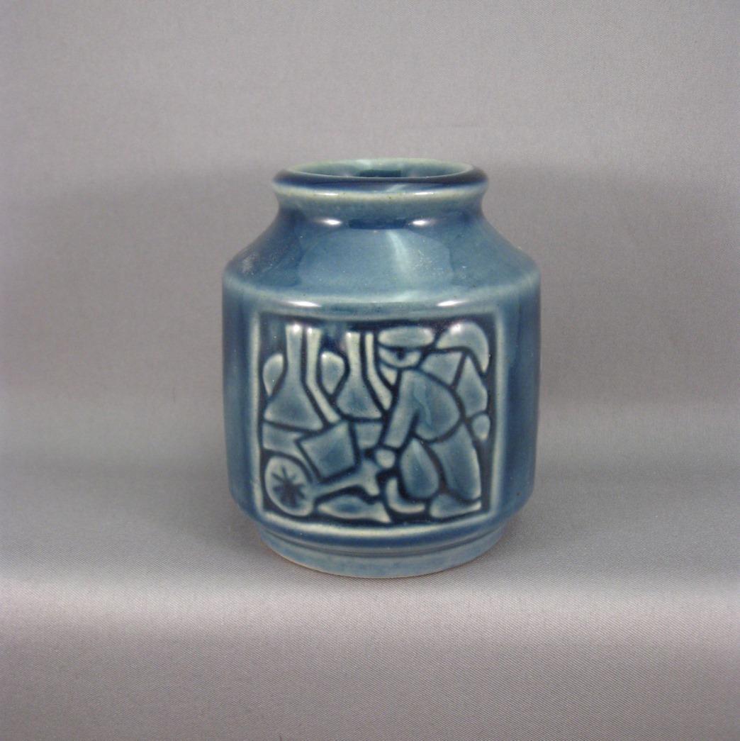 Vintage michael andersen sons danish pottery vase relief