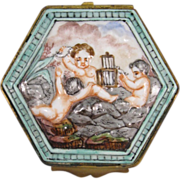 Capodimonte Porcelain Box, Hinged Metal Mount, Cupids, Signed Ginori, C.1890.