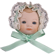 Bye-Lo Baby Doll Face Pin, Porcelain Bisque, Signed, C.1979.