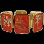 Vintage Japanese Damascene Bracelet, Red Lacquer, Inlaid Metals.