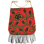 Beaded Purse, Red, Black & Gold with Fringe.