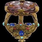 Czech Jeweled Brass Filigree, Glass Intaglio Open Salt Cellar Dip.