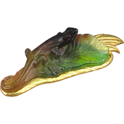 Daum Pate de Verre Art Glass Lizard Chameleon Brooch, Gold Plated Leaf.