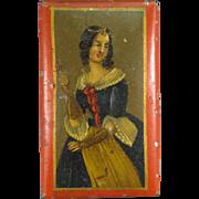 1820s Tin, Hand Painted Portrait Tobacco Snuff Box.
