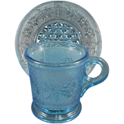 EAPG Early American Pattern Glass, Dahlia Pattern Ice Blue Mug and Saucer, C.1885.
