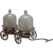 Trolley Coasters Cart, Silver Plated, Condiments or Wine.