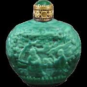 Czech Malachite Miniature Purse Perfume Bottle, Asian Figural Theme C.1930s.