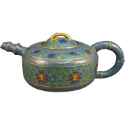 Cloisonne Chinese Bamboo Style Teapot