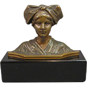 Bronze Miniature Bust of a Woman on Marble Base, C.1900.