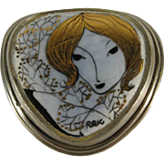Modern Contemporary Hand Painted Porcelain Brooch, C. 1950s, Signed.