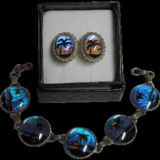 Butterfly Wings Bracelet & Earrings, Signed Hoffman Sterling C.1920.