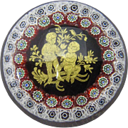 Murano Glass Paperweight, Millefiori Zodiac Gemini, C. 1980.