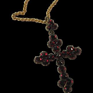 Rose Cut Garnet Cross with Garnet Bail, Bohemia, C.1880.