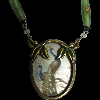 Mirrored Peacocks, Art Nouveau Pendant Necklace.