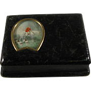 Leather Stamp Box, Equestrian Horse Horseshoe Watercolor, C.1900.