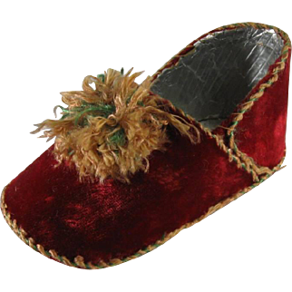 Antique Christmas Ornament Candy Container Slipper Shoe, C.1880-1910.