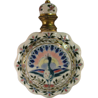 Zsolnay Scent Perfume Bottle, Ceramic Hand Painted C.1890.