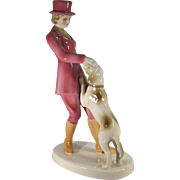 Deco Lady Equestrian with Dog, Porcelain C.1930s.
