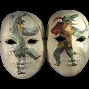 Pair Venetian Masks, Commedia dell'Arte Hand Painted Papier Mache'