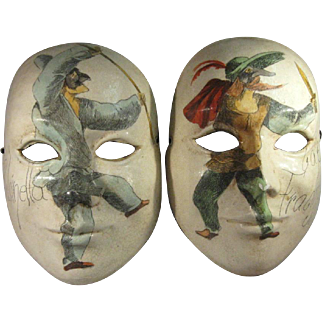 Pair Venetian Masks, Commedia dell'Arte Hand Painted Papier Mache'