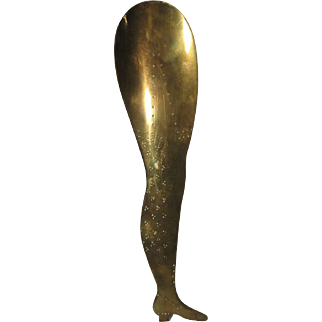 Brass Etched Lady's Leg Shoehorn, C.1850-1880.