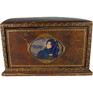 Leather Desk Organizer, Lady with Flag Enamel, Signed Austria.