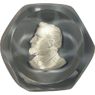 Confederate General Robert E Lee, Baccarat Sulphide Paperweight 1954.