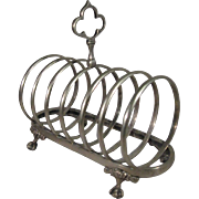 Ball & Claw Feet, Silver Plated Toast Rack Letter Holder, C.1880.