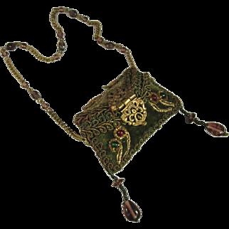 Antique Velvet and Brass Miniature Pillow Purse, C.1900-1920.