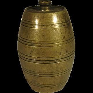 Go-To-Bed Brass Figural Barrel Match Box Vesta, C.1890.