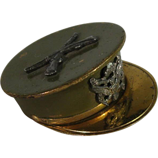 WW II Brass Enamel Military Hat Sweetheart Locket.