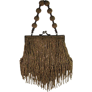 Art Deco Flapper Style Copper Beaded Handbag Purse.