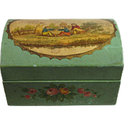 Doll Small Trunk Wooden Box Hand Painted, C.1900.