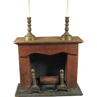 Doll House Wood Fireplace, Brass Accessories, C.1920-30.
